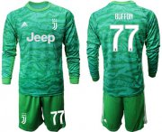 Wholesale Cheap Juventus #77 Buffon Green Goalkeeper Long Sleeves Soccer Club Jersey