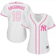 Wholesale Cheap Yankees #18 Didi Gregorius White/Pink Fashion Women's Stitched MLB Jersey