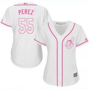 Wholesale Cheap Indians #55 Roberto Perez White/Pink Fashion Women's Stitched MLB Jersey
