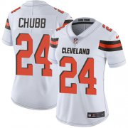 Wholesale Cheap Nike Browns #24 Nick Chubb White Women's Stitched NFL Vapor Untouchable Limited Jersey