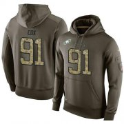 Wholesale Cheap NFL Men's Nike Philadelphia Eagles #91 Fletcher Cox Stitched Green Olive Salute To Service KO Performance Hoodie