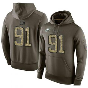 Wholesale Cheap NFL Men\'s Nike Philadelphia Eagles #91 Fletcher Cox Stitched Green Olive Salute To Service KO Performance Hoodie