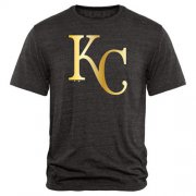 Wholesale Cheap Kansas City Royals Gold Collection Tri-Blend T-Shirt Black