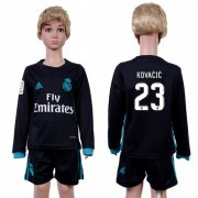 Wholesale Cheap Real Madrid #23 Kovacic Away Long Sleeves Kid Soccer Club Jersey
