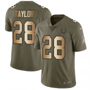 Wholesale Cheap Nike Colts #28 Jonathan Taylor Olive/Gold Youth Stitched NFL Limited 2017 Salute To Service Jersey