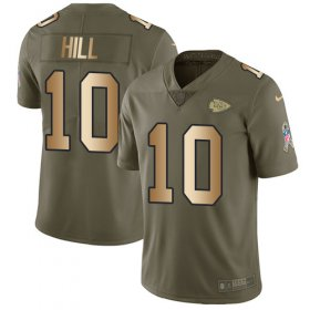 Wholesale Cheap Nike Chiefs #10 Tyreek Hill Olive/Gold Youth Stitched NFL Limited 2017 Salute to Service Jersey