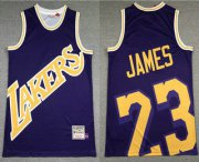 Wholesale Cheap Men's Los Angeles Lakers #23 LeBron James Purple Big Face Mitchell Ness Hardwood Classics Soul Swingman Throwback Jersey