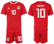 Wholesale Cheap Wales #10 Ramsey Red Home Soccer Club Jersey