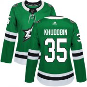 Cheap Adidas Stars #35 Anton Khudobin Green Home Authentic Women's Stitched NHL Jersey