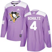Wholesale Cheap Adidas Penguins #4 Justin Schultz Purple Authentic Fights Cancer Stitched NHL Jersey