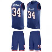 Wholesale Cheap Nike Bills #34 Thurman Thomas Royal Blue Team Color Men's Stitched NFL Limited Tank Top Suit Jersey