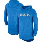 Wholesale Cheap Nike Los Angeles Chargers Light Blue Sideline Slub Performance Hooded Long Sleeve T-Shirt