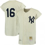 Wholesale Cheap Mitchell And Ness 1961 Yankees #16 Whitey Ford Cream Throwback Stitched MLB Jersey