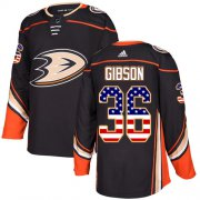 Wholesale Cheap Adidas Ducks #36 John Gibson Black Home Authentic USA Flag Youth Stitched NHL Jersey