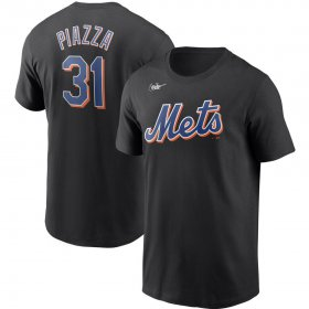 Wholesale Cheap New York Mets #31 Mike Piazza Nike Cooperstown Collection Name & Number T-Shirt Black