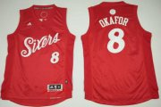 Wholesale Cheap Men's Philadelphia 76ers #8 Jahlil Okafor adidas Red 2016 Christmas Day Stitched NBA Swingman Jersey