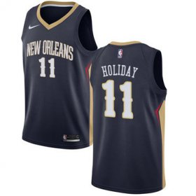 Wholesale Cheap Nike New Orleans Pelicans #11 Jrue Holiday Navy NBA Swingman Icon Edition Jersey