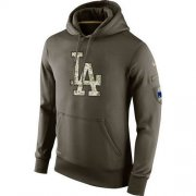 Wholesale Cheap Men's Los Angeles Dodgers Nike Olive Salute To Service KO Performance Hoodie