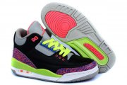 Wholesale Cheap Air Jordan 3 (III) Kids Shoes black/pink cement-gray-blue