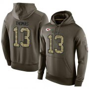 Wholesale Cheap NFL Men's Nike Kansas City Chiefs #13 De'Anthony Thomas Stitched Green Olive Salute To Service KO Performance Hoodie