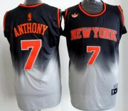 Wholesale Cheap New York Knicks #7 Carmelo Anthony Black/Gray Fadeaway Fashion Jersey