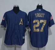 Wholesale Cheap Angels of Anaheim #27 Mike Trout Denim Blue Salute to Service Stitched MLB Jersey