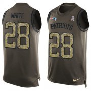 Wholesale Cheap Nike Patriots #28 James White Green Men's Stitched NFL Limited Salute To Service Tank Top Jersey