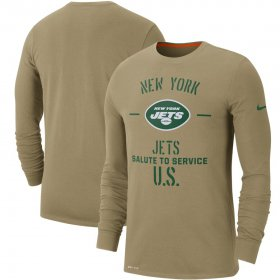 Wholesale Cheap Men\'s New York Jets Nike Tan 2019 Salute to Service Sideline Performance Long Sleeve Shirt
