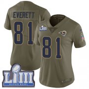Wholesale Cheap Nike Rams #81 Gerald Everett Olive Super Bowl LIII Bound Women's Stitched NFL Limited 2017 Salute to Service Jersey