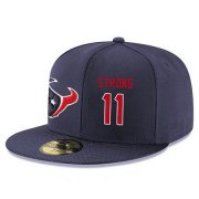 Wholesale Cheap Houston Texans #11 Jaelen Strong Snapback Cap NFL Player Navy Blue with Red Number Stitched Hat