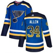 Wholesale Cheap Adidas Blues #34 Jake Allen Blue Home Authentic Drift Fashion Stitched NHL Jersey
