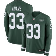 Wholesale Cheap Nike Jets #33 Jamal Adams Green Team Color Youth Stitched NFL Limited Therma Long Sleeve Jersey