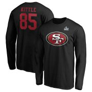 Wholesale Cheap Men's San Francisco 49ers #85 George Kittle NFL Black Super Bowl LIV Bound Halfback Player Name & Number Long Sleeve T-Shirt