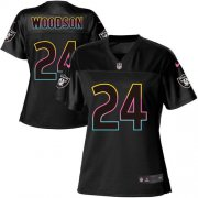 Wholesale Cheap Nike Raiders #24 Charles Woodson Black Women's NFL Fashion Game Jersey