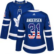 Wholesale Cheap Adidas Maple Leafs #31 Frederik Andersen Blue Home Authentic USA Flag Women's Stitched NHL Jersey