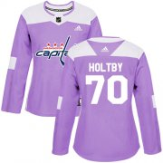 Wholesale Cheap Adidas Capitals #70 Braden Holtby Purple Authentic Fights Cancer Women's Stitched NHL Jersey