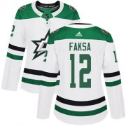 Cheap Adidas Stars #12 Radek Faksa White Road Authentic Women's Stitched NHL Jersey