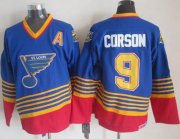 Wholesale Cheap Blues #9 Shayne Corson Light Blue/Red CCM Throwback Stitched NHL Jersey