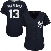 Wholesale Cheap Yankees #13 Alex Rodriguez Navy Blue Alternate Women's Stitched MLB Jersey
