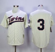 Wholesale Mitchell and Ness Twins #3 Harmon Killebrew Cream Black Strip Stitched Baseball Jersey