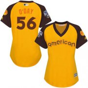 Wholesale Cheap Orioles #56 Darren O'Day Gold 2016 All-Star American League Women's Stitched MLB Jersey