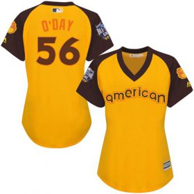 Wholesale Cheap Orioles #56 Darren O\'Day Gold 2016 All-Star American League Women\'s Stitched MLB Jersey