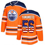 Wholesale Cheap Adidas Oilers #56 Kailer Yamamoto Orange Home Authentic USA Flag Stitched NHL Jersey