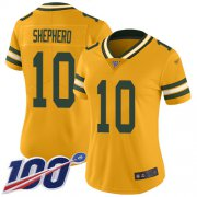 Wholesale Cheap Nike Packers #10 Darrius Shepherd Gold Women's Stitched NFL Limited Inverted Legend 100th Season Jersey