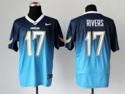Wholesale Cheap Nike Chargers #17 Philip Rivers Navy Blue/Electric Blue Men's Stitched NFL Elite Fadeaway Fashion Jersey