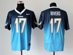 Wholesale Cheap Nike Chargers #17 Philip Rivers Navy Blue/Electric Blue Men\'s Stitched NFL Elite Fadeaway Fashion Jersey