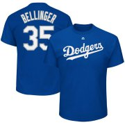 Wholesale Cheap Los Angeles Dodgers #35 Cody Bellinger Majestic Official Name & Number T-Shirt Royal