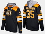 Wholesale Cheap Bruins #35 Anton Khudobin Black Name And Number Hoodie