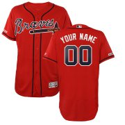 Wholesale Cheap Atlanta Braves Majestic Alternate 2019 Authentic Collection Flex Base Custom Jersey Scarlet