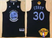 Wholesale Cheap Men's Golden State Warriors #30 Stephen Curry Black With Purple Diamond 2016 The NBA Finals Patch Jersey